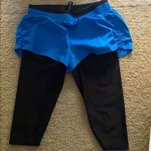 Athletic shorts with leggings built-in